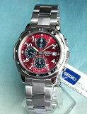 SEIKO セイコー メンズ 腕時計 新品 時計 薄型クロノグラフ SND495PC 正規海外モデル 赤ダイアル 日本製ムーブメント【楽ギフ包裝】母の日 父の日