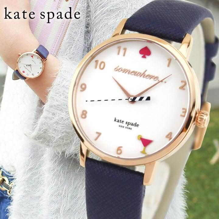 ★送料無料 KateSpade ケイトスペード KSW1040 海外モデル レディース 腕時計 ウォッチ 革ベルト レザー クオーツ アナログ 白 ホワイト 青 ネイビー 誕生日プレゼント ギフト