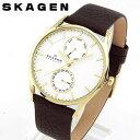 【送料無料】SKAGEN スカーゲン SKW6066 海外モデル メンズ 腕時計 ウォッチ 革ベルト レザー クオーツ アナログ 白 ホワイト 茶 ブラウン 誕生日プレゼント ギフト 北欧デザイン