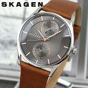 SKAGEN スカーゲン SKW6086 海外モデル メンズ 腕時計 ウォッチ 革ベルト レザー クオーツ アナログ グレー 茶 ブラウン 北欧デザイン