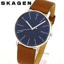 【送料無料】SKAGEN スカーゲン SIGNATUR シグネチャー SKW6355 メンズ 腕時計 北欧 革ベルト レザー シンプル 青 ネイビー 茶 ブラウン 海外モデル 誕生日プレゼント 男性 父の日 ギフト