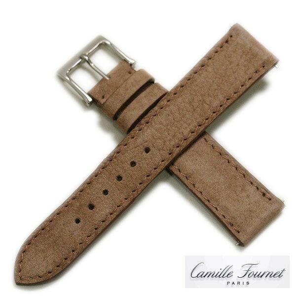 【カミーユフォルネ】ヌバック(アンチスエット)ブラウン 時計ベルト