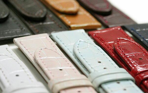 【ミモザ】型押し P ブラック/ブラウン/キャメル/ワイン/ブルー/ホワイト/レッド/グリーン/モカ レディース 時計ベルト