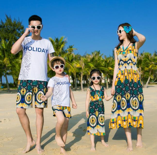 親子ペア 親子お揃い Tシャツ パンツ ワンピース サンドレス カップル 中袖 Tシャツ ユニセックス おそろい親子服 プレゼント 親子 兄弟 姉妹 大人用 子供 ギフト お揃い服 服 夏 旅行 海 メンズ レディース