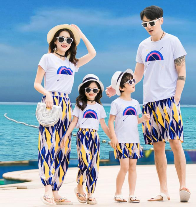 親子ペア 親子お揃い Tシャツ パンツ ワンピース サンドレス ガウチョパンツ カップル 中袖 Tシャツ ユニセックス おそろい親子服 プレゼント 親子 兄弟 姉妹 大人用 子供 ギフト お揃い服 服 夏 旅行 海 メンズ レディース