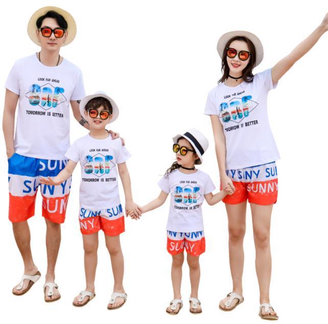 親子ペア 親子お揃い Tシャツ パンツ ワンピース サンドレス ガウチョパンツ カップル 中袖 Tシャツ ユニセックス おそろい親子服 プレゼント 親子 兄弟 姉妹 大人用 子供 ギフト お揃い服 服 夏 旅行 海 メンズ レディース 蜂柄