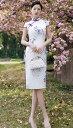 ショッピング安い ミディアム丈 ミモレ丈 パーティードレス ワンピース 結婚式 安い チャイナドレス チュールワンピース レディース 民族風 ナチュラルエスニック 復古 スタンドカラー 写真撮影 パーティー 花柄 少女感満々 花柄