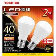 東芝 LDA4L-G-E17S40V2P LED小形電球形 2本パック(電球色) E17口金 40W形相当 440lm