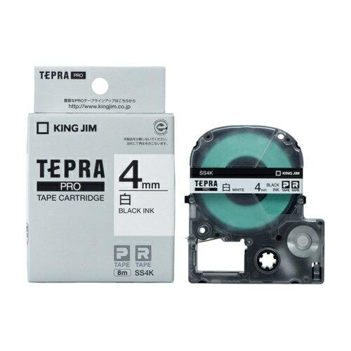キングジム テプラPRO 白ラベル 白 黒文字 4mm SS4K