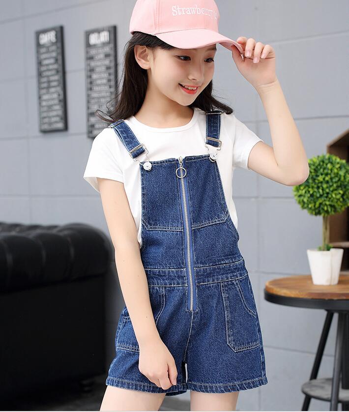 韓国子供服ファッション女の子ジーンズデニムショートパンツサロペットパンツキッズズボンフォーマルデニム