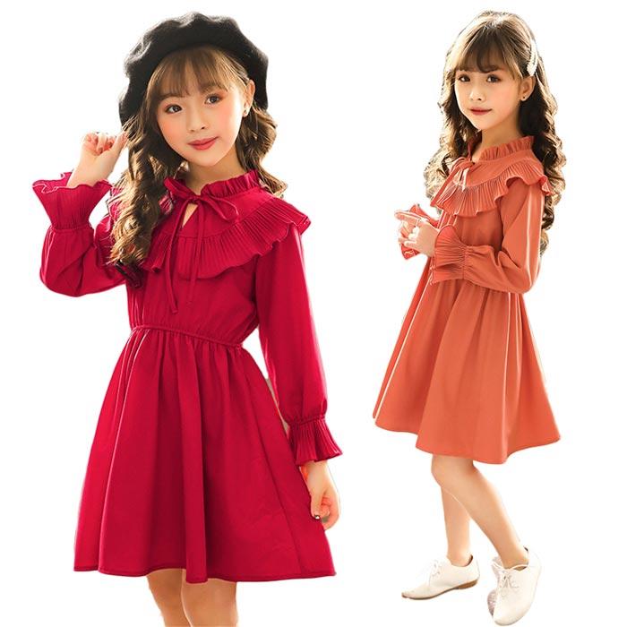 韓国春秋着子供服子供ワンピース女の子可愛いスタイルレーススカート長袖ワンピース入園入学フォーマルプリ