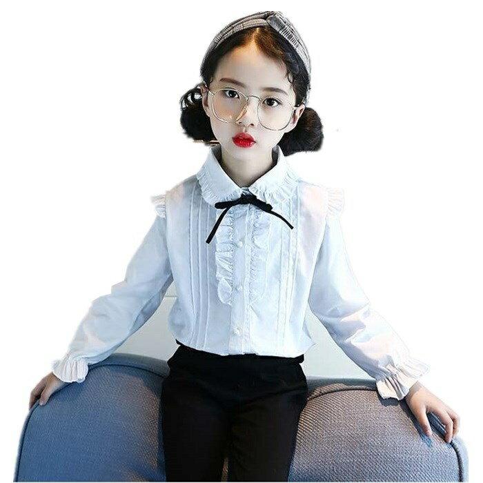 新作春秋着韓国子供服女の子おしゃれ長袖パールシャツトップス女の子シャツトライプシャツシャツブラウス・