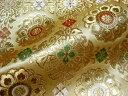 京西陣・金襴 生地 広幅九釜京三丁金通し唐花(綴れ金茶)生地幅108cm (金らん 生地 金襴布 和布 和生地 和柄生地 和柄 和風)05P01Oct16