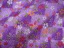 京友禅 金彩ちりめん 市松格子に桜(紫) (和布 和生地 和柄生地 和柄 和風)05P01Oct16