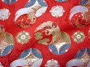 京都西陣織 金襴 生地 花立涌地に鶴亀紋(赤) 10cm単位 切り売り 布地 はぎれ 和柄 生地 よさこい きんらん 金らん