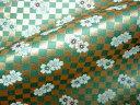 京都西陣織 金襴 生地 弁慶格子に桜(緑) 10cm単位 切り売り 布地 はぎれ 和柄 生地 よさこい きんらん 金らん