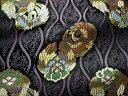 ◆京西陣 金襴 生地 立涌に鳳凰の丸(黒地 紫) 10cm単位 切り売り 布地 和柄 生地 よさこい きんらん 金らん