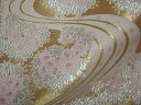 京西陣・金襴 生地 金地桜に流水(桃) ( 金らん 金襴布 和布 和生地 和柄生地 和柄 和風)05P01Oct16