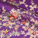 金彩友禅 花鳥文様(紫) 10cm単位 切り売り 和柄 布地 生地