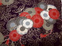 京・正絹金彩友禅 紫地乱菊 (着物生地 和生地 和柄生地 和柄 和風 はぎれ 手芸 布 インテリア)05P01Oct16