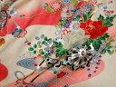 京・正絹金彩友禅 御所車に手毬(かすみ) 10cm単位 切り売り 和布 和生地 和柄生地 はぎれ 着物生地