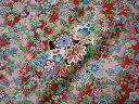 京・正絹金彩友禅 扇面花の縞 (着物生地 和 和柄生地 和柄 和風 はぎれ 手芸 布 インテリア)05P01Oct16