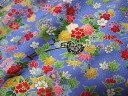 京・正絹金彩友禅 花づくし(青) (和布 和生地 和柄生地 和柄 和風)05P01Oct16