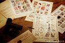 【メール便可能】【東京アンティークラッピング】コラージュ切手シート