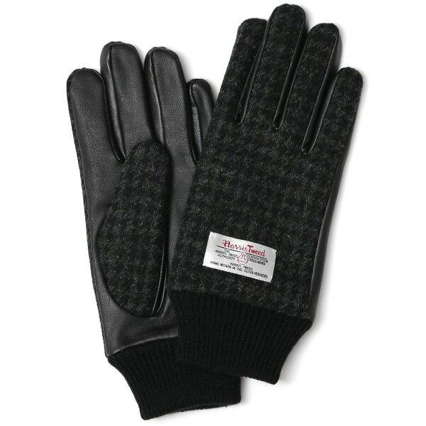 ハリスツイード 手袋 メンズ 本革 レザー スマートフォン対応 グリーン ウール 手袋 グローブ KURODA(クロダ)