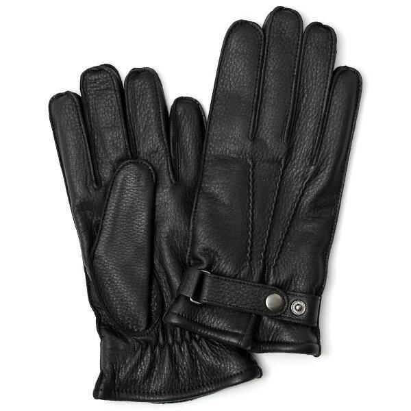 手袋 メンズ レザー 本革 ディアスキン(鹿革) ブラック 黒 黒色 丈夫 頑丈 耐水性 てぶくろ 皮 グローブ KURODA(クロダ)
