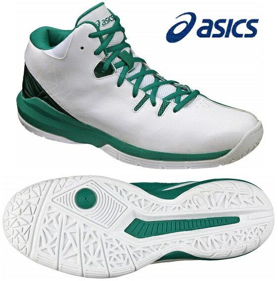 アシックス ゲルレジェンドライト (バスケットシューズ) TBF323〈0188:ホワイト×シーグリーン色〉