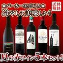 【送料無料】パーカー92点も入った、夏に飲みたい冷やして美味しい赤ワイン厳選5本セット!