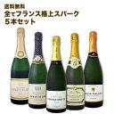 【送料無料】長期熟成シャンパン1本&上質クレマン4本!全てフランス格上スパークだけ5本セット!