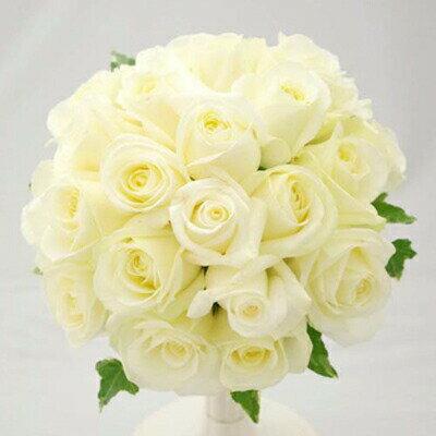 生花 ウェディングブーケ 白バラのラウンドブーケ(※ブートニア付き)銀座の花屋東京フラワー 女性の憧れ♪白いドレスにぴったりの白バラのブーケ♪
