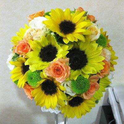 生花 ウェディングブーケ ひまわりのラウンドブーケ(※ブートニア付き)銀座の花屋東京フラワー 元気いっぱいのひまわりをブーケしました♪