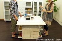 天然木パイン材のキッチンカウンター120テーブル両面キッチンワゴン調理台作業台バタフライ両バタ幅120cm【大川家具】