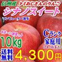 【送料無料】これが本場の味!長野県産 シナノスイート Cランク家庭用10kg(24-36玉)訳あり(