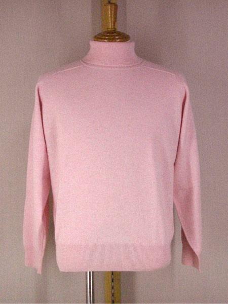 秋冬 FADS(ファッズ) カシミヤ100% タートルネックセーター 淡いピンク 【M】【L】【LL】