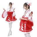 【白×赤/4】あす楽 赤スカート 巫女 みこ コスプレ 衣装 コスプレ 巫女 和服 着物 花魁 メイド服 和