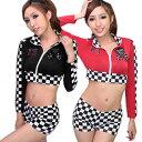 【2色/2】黒 赤 チアガール レースクイーン 衣装 コスプ...