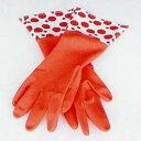 使いやすく指先がフィットして自然な動きが可能なグローブですダルトン キッチンゴム手袋 ドット レッド