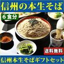 信州そば セット 6食ギフトセット、野沢菜、七味付セット 生そば 蕎麦 高級 送料無料
