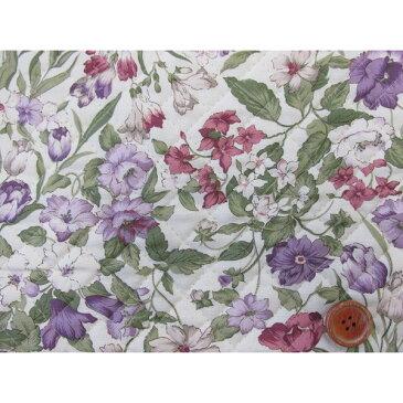 フローラルコレクション 紫系花柄 シーチング生地 (生成り地) キルト