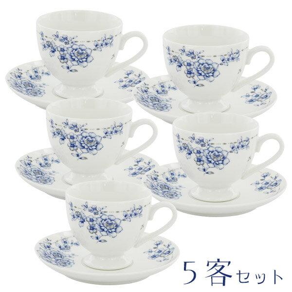 ブルーフラワー5客碗皿セット 6735-06