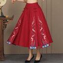 ショッピングエスニック レディース スカート チャイナ風 ゆったり 民族風 刺繍 花柄スカート ナチュラル エスニックリネン 復古風スカート 写真撮影 演出服