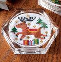 Cosmo クロスステッチ刺繍キット 6409「トナカイ」Lucian ルシアン コスモ ししゅうでおもてなし クロスステッチコースター クリスマス Christmas X'Mas