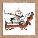 RIOLISクロスステッチ刺繍キット No.1495 「Dachshund Blues」 (ダックスフントのブルース) 【取り寄せ/納期1〜2ヶ月】猫 犬 ネコ...