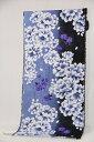 女性浴衣 反物(黒×ブルーグレー(花))...