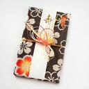 浜松注染 ご祝儀袋 さくらカーキ/手拭い半分(ハンカチサイズ)で包まれています