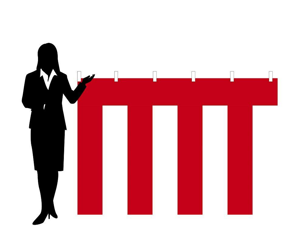 店頭装飾紅白幕[テトロン・H120cm×W900cm/5間]